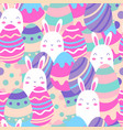 seamless pattern happy egg with bunny for happy vector image vector image