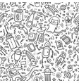 seamless pattern space doodles robot and technic vector image