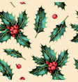 seamless pattern with holly leaves and berries vector image vector image