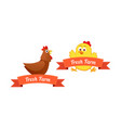 set emblems with chickens vector image vector image