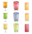 smoothie fruit juice icons set realistic style vector image vector image