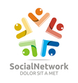 social network people star colorful design vector image