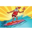 Sports Santa Claus on a surfboard vector image