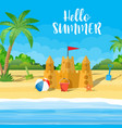 summer vacation sand castle vector image vector image
