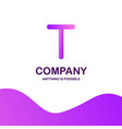 t company logo design with purple theme vector image
