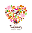 template with confectionery and sweets i vector image vector image
