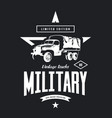 vintage military truck logo vector image