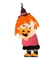 Girl with pumpkin vector image