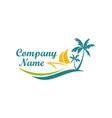 beach boat travel holiday logo vector image