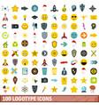 100 logotype icons set flat style vector image