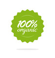 100 percent organic food label or badge vector image