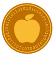 apple digital coin vector image vector image