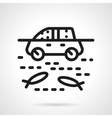 Automobile in water simple line icon vector image
