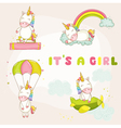 Baby Unicorn Set - Baby Shower or Arrival Card vector image vector image