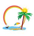 beauty beach an palm tree vector image