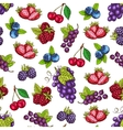 Berries and fruits sketch seamless pattern vector image vector image