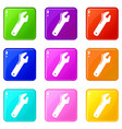 big spanner icons set 9 color collection vector image vector image