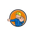 Builder Hand Stop Signal Circle Cartoon vector image