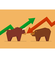Bull vs Bear symbol of stock market vector image