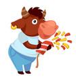 bull with confetti celebrating holiday festivity vector image vector image