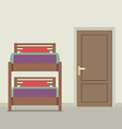 Bunk Bed With A Closed Door vector image vector image