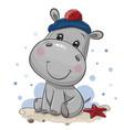cartoon hippo in sailor costume vector image vector image