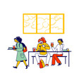 children characters visiting in school cafeteria vector image