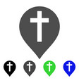 christian cross marker flat icon vector image vector image