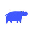 cute blue hippo hand drawn vector image vector image