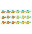 Cute orange aquarium fish cartoon character set of