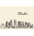 Doha skyline hand drawn vector image vector image