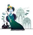 fairyland queen in fantasy medieval kingdom book vector image
