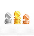 gold silver bronze coins set isolated on vector image vector image