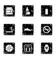 Gym icons set grunge style vector image vector image