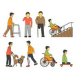 handicapped person injured wheelchair or vector image vector image