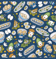 happy easter cartoon seamless pattern vector image