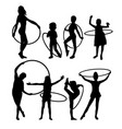 happy hula hoop activity silhouettes vector image