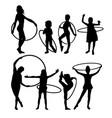 happy hula hoop activity silhouettes vector image vector image