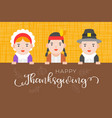 happy thanksgiving background with pilgrim vector image