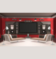 home cinema interior with red walls vector image vector image