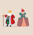 king and queen cartoon royal couple vector image vector image