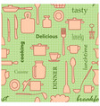 kitchenware and words - light green seamless vector image vector image