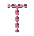 Letter T made of USA flags in form of candies vector image