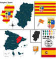 Map of Aragon vector image vector image