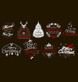 merry christmas and happy new year logo set vector image vector image