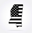 mississippi ms state shape with usa flag vector image vector image