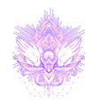 ornamental lotus flower and praying hands vector image vector image