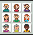 people face icons 1 vector image vector image