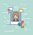 photo frame with half body woman with multimedia vector image