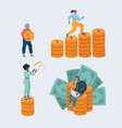 pile money stacked coin and people vector image vector image